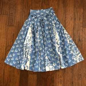 Soft Surroundings Blue White Floral Flare Skirt S